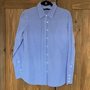 J. Crew Blue/Wht gingham check slim fit shirt - M